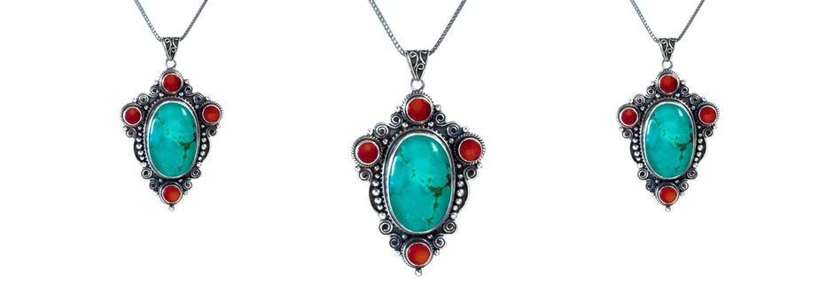 Tibetan Turquoise and Coral Pendant