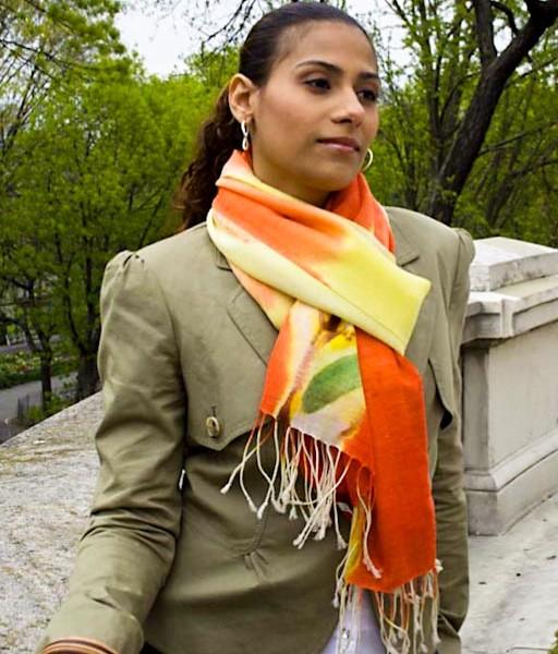 Showl-Fine wool shawl, Yellow-Orange