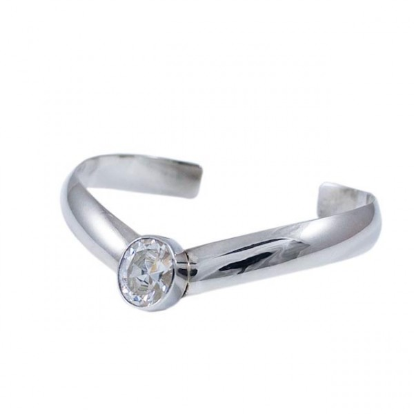 Silver bracelet and Cubic zirconia stone