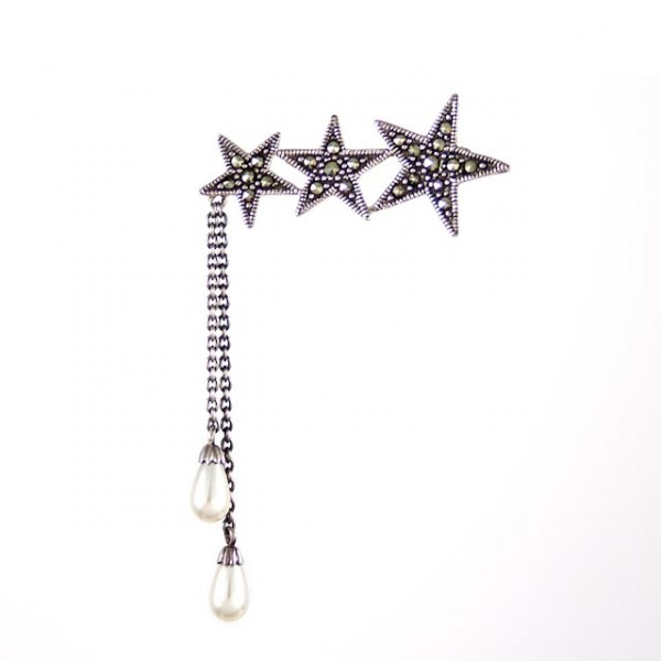 Marquisette 3 stars with hanging drop pearls brooch