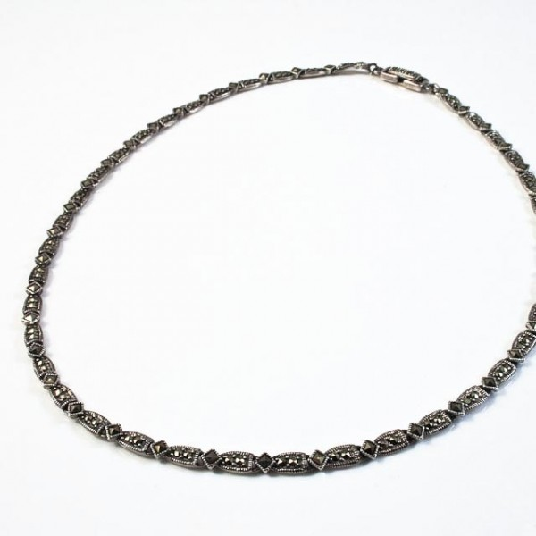 Sterling silver, marcasite necklace