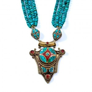 Turquoise, coral and brass necklace