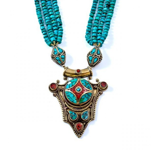 Necklace Tibetan hand made turquoise, coral and bass necklace