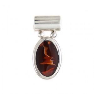 sliver oval pendent with semi precious stone