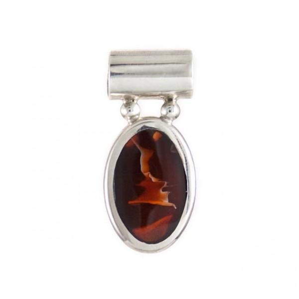 Pendant-semi precious stone, silver oval pendent