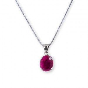 silver pendant and chain with ruby stone-Ismael