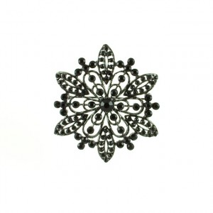 brooch with black stones-Costume jewelry